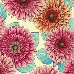 Gerbera Daisies - Pink, Yellow & Teal Floral