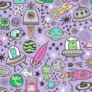 Space Galaxy Universe Doodle with Aliens, Rockets, Planets, Robots & Stars on Purple