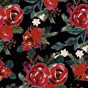 vintage holiday floral_black