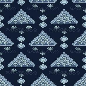 Indigo blue geometric lacy triangle pattern