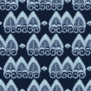 Indigo blye dye lacy paisley style pattern