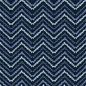 Indigo blue geometric chevron pattern