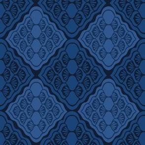 Indigo blue geometric diamond damask pattern.