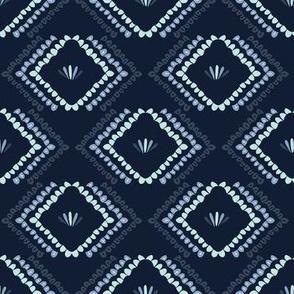 Indigo blue geometric chevron pattern.