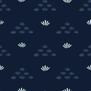 Indigo blue stylized flower grass pattern.