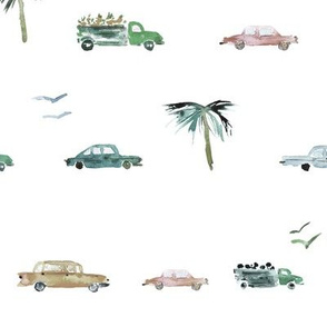 Havana traffic in saturated colors || watercolor cars pattern for baby boy