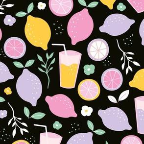 Hot summer oranges and lemon fruit colorful lemonade illustration kitchen food print in black pink mint