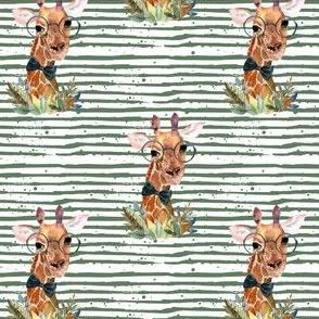 "4"" Boy Giraffe Green Stripes"