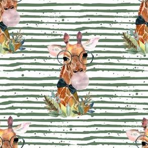 """8"""" Boy Giraffe with Bubblegum Green Stripes"""