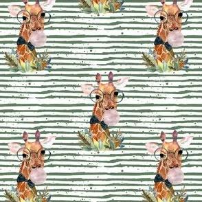 """4"""" Boy Giraffe with Bubblegum Green Stripes"""