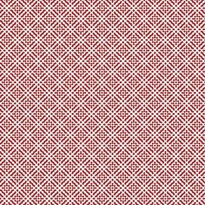 Tiny Compass in Diamond Diagonal - White on Red