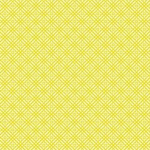 Tiny Compass in Diamond Diagonal - White on Yellow