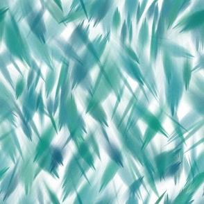 Blowing Leaves Watercolor - Blue Green