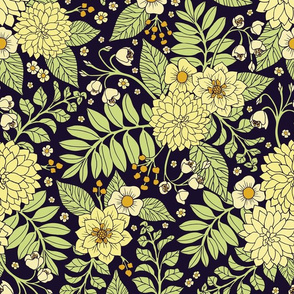 Navy Blue, Yellow, White & Green Floral Pattern