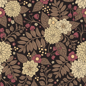 Pretty Brown, Taupe, & Mauve Floral Pattern With Ferns