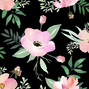 Spring Anemone and Roses Watercolor // Black