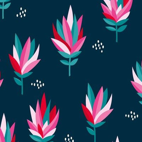 Tropical Australian summer beach lovers flower surf garden botanical protea abstract sugarbushes night navy blue pink