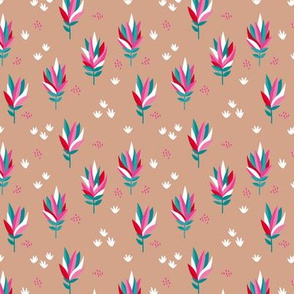 Tropical summer beach lovers flower surf garden botanical protea abstract sugarbushes  pink beige red SMALL