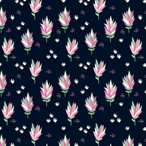 Tropical summer beach lovers flower surf garden botanical protea abstract sugarbushes night navy mint green pink SMALL