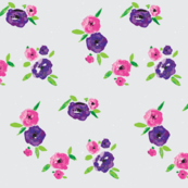 Pansy Patch Violet and pink on grey with white splatter