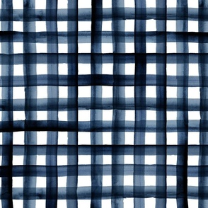 watercolor plaid navy L