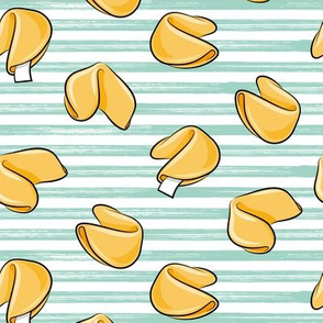 Fortune Cookies - mint stripes - take out food - LAD19