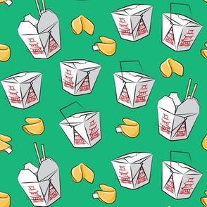 take-out boxes - Chinese food takeout containers with fortune cookies - green - LAD19