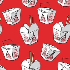 take-out boxes - Chinese food takeout containers - red-  LAD19