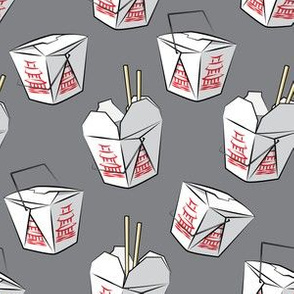 take-out boxes - Chinese food takeout containers - dark grey - LAD19