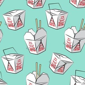 take-out boxes - Chinese food takeout containers - teal - LAD19