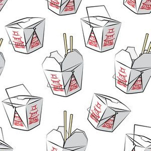 take-out boxes - Chinese food takeout containers - white- LAD19