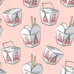 take-out boxes - Chinese food takeout containers - pink - LAD19
