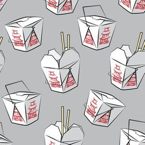 take-out boxes - Chinese food takeout containers - light grey - LAD19