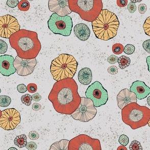Abstract Mushrooms on Grey