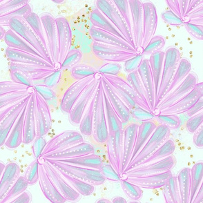 Purple Mint Mermaid Sea Shells