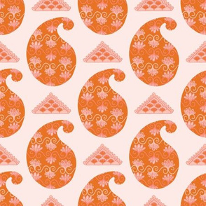 Hand drawn coral paisley motif illustration.