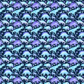 Blue Dinosaurs dark blue background - smaller scale