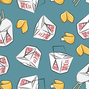take-out boxes - Chinese food takeout with fortune cookies - toss - slate - LAD19