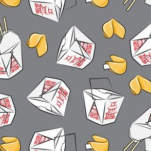 take-out boxes - Chinese food takeout with fortune cookies - toss - dark grey - LAD19
