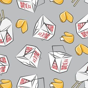 take-out boxes - Chinese food takeout with fortune cookies - toss - grey - LAD19