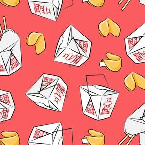 take-out boxes - Chinese food takeout with fortune cookies - toss - light red - LAD19
