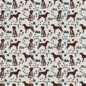 TINY - german shorthair pointer hiking dog breed fabric grey