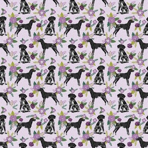 TINY german shorthaired pointer dog floral fabric - dog fabric, floral fabric, shorthaired pointer fabric - purple