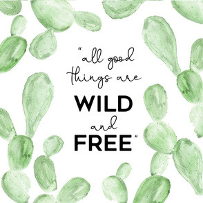 Wild + Free | Watercolor Paddle Cactus