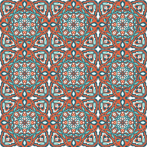 Orange Teal Garden Tile