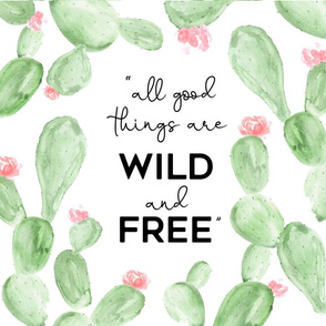 Wild + Free | Watercolor Paddle Cactus Flowers