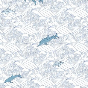 Dolphins Jumping Waves