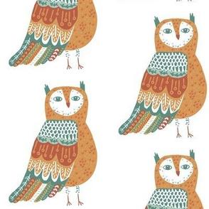 Wise Owl on White
