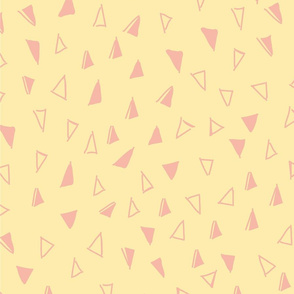 Tumbling Triangles - pink on light yellow