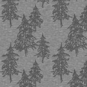 Medium Evergreen Trees - charcoal